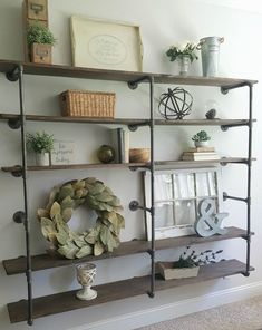 DIY industrial pipe shelves styled with neutral farmhouse decor - DIY industrial pipe shelves styled with neutral farmhouse decor - Industrial Farmhouse Decor, Industrial Pipe Shelves, Industrial Interior Design, Country Farmhouse Decor, Farmhouse Design, Rustic Decor, Industrial Style, Pipe Shelving, Farmhouse Ideas