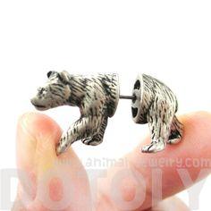 Unique Fake Gauge Realistic 3D Bear Animal Stud Earrings in Silver $12.50 #bears #animals #jewelry #earrings #fierce