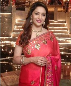 Rose Red Georgette Saree; Gotta Patti Style Embriodery On Blouse And Border. For More Information Visit Here: http://www.couturemasala.com/