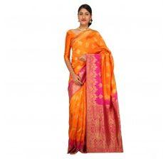 Zari work tusser silk saree in dark orange and pink