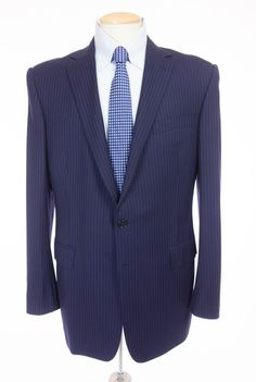 RALPH LAUREN Black Label Anthony Suit 42 Reg Slim L Blue Green Broken Stripe #RalphLauren #TwoButton