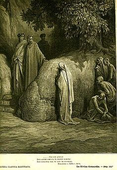 Dante Alighieri - The Divine Comedy. Purgatory. Canto XXI. Dante and Virgil meet Forese Donati. Gustave Doré illustration.