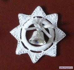 Háčkované vánoční ozdoby + návod (hvězdičky na záclonových kroužcích)