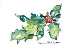 Your Season's Greetings are broadcasted beautifully with this holly and berries cluster.  The sentiment is definitely there!  Click this link to check out all the ways this Barbara Wirth Art watercolor pen and ink painting can be YOUR beautiful holiday greeting card.  It is also available as a painting (print, canvas, metal, acrylic) to add element of charm to your home or office: http://barbara-wirth.artistwebsites.com/featured/holiday-holly-barbara-wirth.html  for as little as $3.25