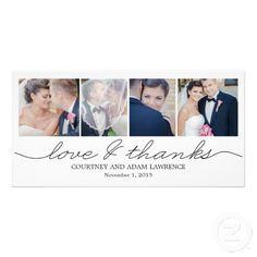 Lovely Writing #Wedding #ThankYou #Card - White Customized Photo Card