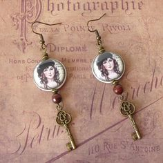 French Vintage Earrings Key Earrings Key Pendant Paris