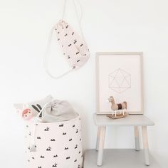Our Rose Rabbit print fits perfectly into a little girls room - subtle and elegant.  http://www.fermliving.com/webshop/shop/kids-room/kids-bags-and-baskets/rose-rabbit-gym-bag.aspx  http://www.fermliving.com/webshop/shop/kids-room/kids-bags-and-baskets/rose-rabbit-basket-medium.aspx
