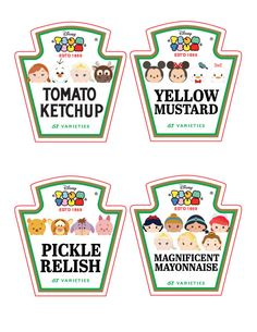 Tsum Tsum Ketchup, Mayo, Relish and Mustard Bottle Labels ~ Condiment ~ Clipart ~ Tsum Tsum Birthday Party