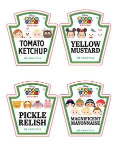 TSUM Tsum Ketchup, Mayo, Relish et étiquettes de bouteille de moutarde ~ Condiment ~ cliparts ~ Tsum Tsum fête d'anniversaire