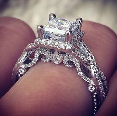 Verragio engagement rings the same style but a center black diamond Verragio Engagement Rings, Halo Engagement, Verragio Rings, Princess Cut Engagement, Princess Wedding, Do It Yourself Fashion, Ring Verlobung, Dream Ring, Diamond Are A Girls Best Friend