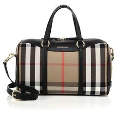 Burberry Alchester Medium House Check Cotton & Leather Bowler Bag ($1,670) ❤ liked on Polyvore featuring bags, handbags, apparel & accessories, leather handbags, leather bowling bag, real leather handbags, black purse and burberry