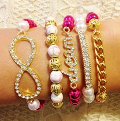 Hot Pink Dream Bracelet Stack #braceletstack #bracelet #stacked #dream #infinity #hotpink #pink #armcandy