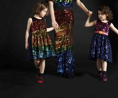 Stunning sequin rainbow dresses at Preen and Preen Mini for winter holiday 2015 partywear fashion