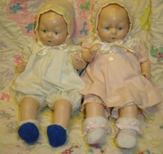 "VINTAGE DOLLS~HORSMAN TYNIE BABY TWINS REPRODUCTION FROM 1924,13"" ORIG CLOTHES"