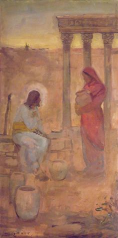Woman at the Well by J. Kirk Richards - - this was our Gospel today Sunday Lent Wk. Paintings Of Christ, Jesus Painting, Lds Art, Bible Art, Catholic Art, Religious Art, Bibel Journal, Pictures Of Christ, Jesus Art