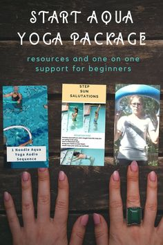 Start aqua yoga with this beginner's aqua yoga package.  Get aqua yoga resources and one on one support.  You can learn yoga in the pool with yoga mentoring and yoga sequences.  Aqua yoga can build strength and balance and reduce chronic pain.  Give a unique yoga gift.  #yoga, #aquayoga, #mentoring, #yogasequences, #yogagifts