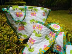 Happy Feet Spa Slippers and Tote sewn by Kath G. at Pillow Talk in Bermuda.