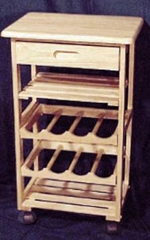 Solid Beech wood with two slatted shelves, two wine shelves and large drawer by Wood-Tech Designs.