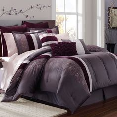 Grey and purple bedroom grey and purple bedroom purple grey bedding purple and gray bedding grey . King Size Comforter Sets, King Size Comforters, Purple Bedding Sets, White Bedding, Purple Comforter, Gray Bedroom, Bedroom Decor, Bedroom Ideas, Bedroom Bed