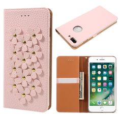 X-FITTED Cover for iPhone 7 Plus Cover Phone Bag 3D Flowers Genuine Leather Case for iPhone 7 Case Plus 5.5-Inch
