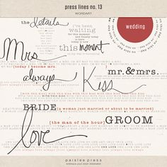 Press Lines No. 13 - Wedding