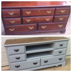 French Linen Chalk Paint-dresser converted to TV stand