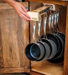 Appealing Kitchen Cabinet Pot Organizer : Astonishing Kitchen Cabinets Organization Storage With Wooden Pull Out Drawer Diy Kitchen Storage, Kitchen Pantry, New Kitchen, Kitchen Decor, Kitchen Cabinets, Kitchen Ideas, Smart Kitchen, Kitchen Designs, Funny Kitchen