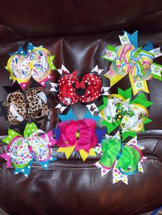 Stacked Hairbows are only $8.00 with no Center or add a center or Initial center for only $1.00. Or get 5 stacked bows(some with centers and some without) for $35.00 now thru December 1st!!  Check us out on Facebook for Selections!!
