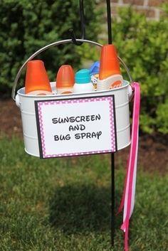 Set out sunscreen and bug spray.