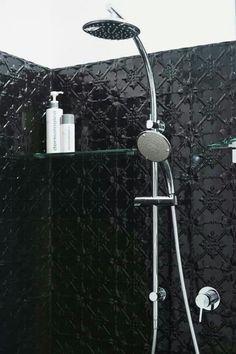pressed tin black bathroom interior, just not black!