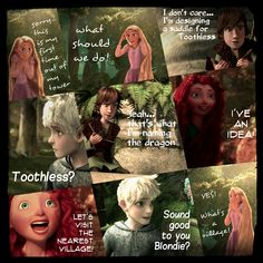 The Adventures of the Big Four: Page 12 by 1JoyDreamer.deviantart.com on @deviantART Rapunzel wants to go see the world and Merida is the girl with the plan. Meanwhile Hiccup is creating a quick saddle for Toothless.