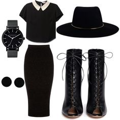 All black by mariamakbbh on Polyvore featuring polyvore, fashion, style, Warehouse, Gianvito Rossi, The Horse, AeraVida and Zimmermann