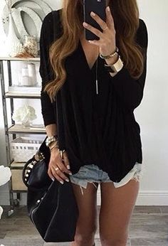 black top & light wash shorts