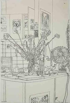 Cressida Campbell, Kitchen Still Life with Flowers 1981 Sketchbook Assignments, Object Drawing, Still Life Drawing, Watercolor On Wood, Australian Artists, Art Inspo, Art Drawings, Art Photography, Art Gallery