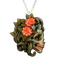 Lady Skull Tattoo Necklace-- could make a cute tiny tattoo.. With the pinned gentlemen tattoo
