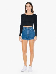"High waist denim 5 pocket cuff short featuring a button and zipper closure. This 14 ounce denim is rigid for a more authentic, vintage feel. AA basic. Iconic for it's flattering silhouette.   <BR><BR><SPAN><!--|--><!--Bullets--> <strong>Fabric & Care</strong><br> • 100% Cotton<br> • Imported<br><br>  <strong>Size & Fit</strong><br> • Model is 5'7"" and wearing a size 25<br> ..."