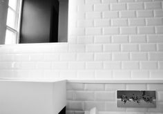 white subway tiles in bathroom with sleek chrome accents - love this clean contemporary look for the bathroom Brick Tiles Bathroom, White Subway Tiles, Winter White, Bathrooms, Chrome, Bathtub, Contemporary, Ideas, Standing Bath