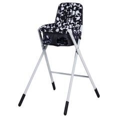 good small space high chair solution. Folds up and cloth comes off for easy machine washing: SPOLING Highchair with safety belt - black/white - IKEA $39.99
