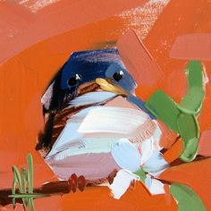 Barn Swallow no. 23 original bird oil painting by Angela Moulton 4 x 4 inch on panel