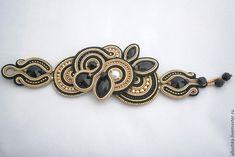 """Купить Браслет сутажный """"Motiff"""" Jet L - черный, soutache, swarovski, beads, jewelry, handmade"""
