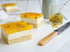 The nicest passionfruit slice I have tasted. I use fresh passionfruit when in season.