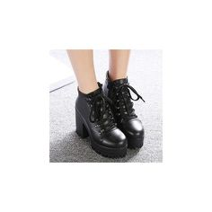 Lace-Up Chunky-Heel Ankle Boots ($64) ❤ liked on Polyvore featuring shoes, boots, ankle booties, chaussures, botas, pictures, footware, black lace up booties, platform booties and ankle boots