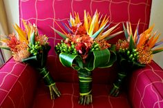 birds of paradise pincushion protea hypericum berries wedding flower bouquet, bridal bouquet, wedding flowers, add pic source on comment and we will update it. www.myfloweraffair.com can create this beautiful wedding flower look.
