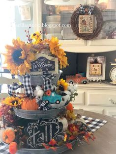 The fall tiered tray is all foofed up and decorated ! It is stuffed full of all things Fall! Thanksgiving Decorations, Seasonal Decor, Holiday Decorations, Galvanized Tiered Tray, Tiered Stand, Autumn Decorating, Tray Decor, Fall Home Decor, Fall Crafts