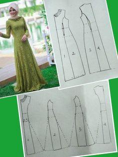 (POLA) Baju Kurung potongan puteri (princess cut) - Her Crochet Long Dress Patterns, Dress Sewing Patterns, Clothing Patterns, Sewing Clothes, Diy Clothes, Abaya Pattern, Muslim Dress, Schneider, Pattern Drafting