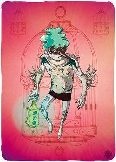 """Ilustración de """"El Ave"""" de Cafe Tacuba, exposición; Seguimos siendo."""
