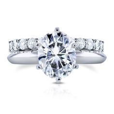 Annello by Kobelli 14k Gold 2 1/10ct Oval Moissanite Solitaire and 1ct TDW Diamond Eternity Ba