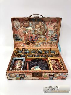 Imagination Suitcase by Yumi Muraeda Product - Graphic 45 - Imagine - Regular Tag & Gear Dies Diy Paper, Paper Art, Paper Crafts, Matchbox Crafts, Altered Cigar Boxes, Diy Shadow Box, Assemblage Art, Graphic 45, Art Plastique