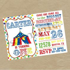 Circus Birthday Party Invitation Printable Invites By Luv Bug