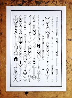 Arrow Illustration Hand Drawn. Fine Line Aztec Tribal Drawing by Hand. A3 Poster Print
